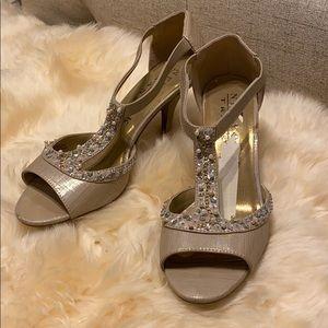 Beaded T-strap heels